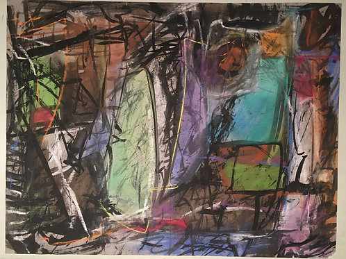"""19.25 in X 25.50 in Abstract Drawing """"By Day"""""""