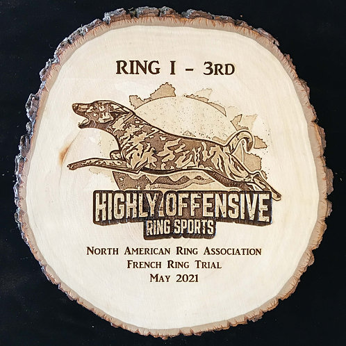 9 in. Diameter Natural Bark Edge Basswood Round with Laser Etch Image.