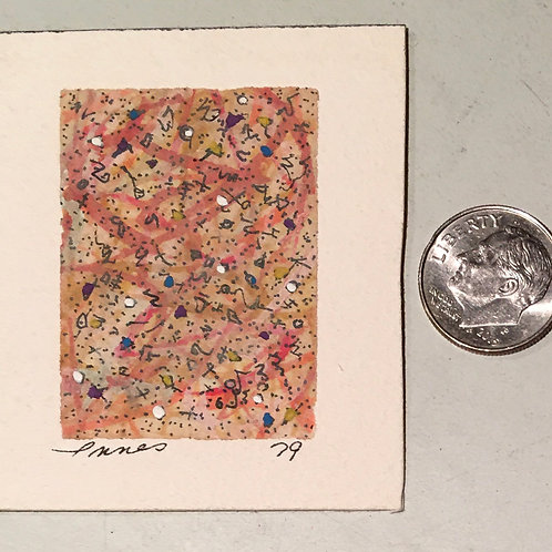 "1.75 in X 1.25 in ""Party!"" Mini Abstract Painting."