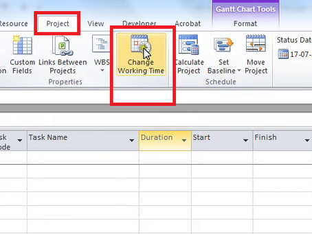 Create a New User Defined Calendar in MS Project 2010
