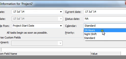 How To Set The Global Calendar In MS Project 2010