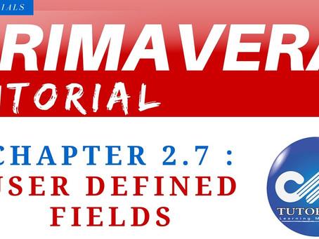 2.7 : Primavera Learning - User Defined Fields