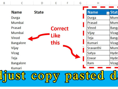 Adjust Copy Pasted Excel Data into Correct Columns