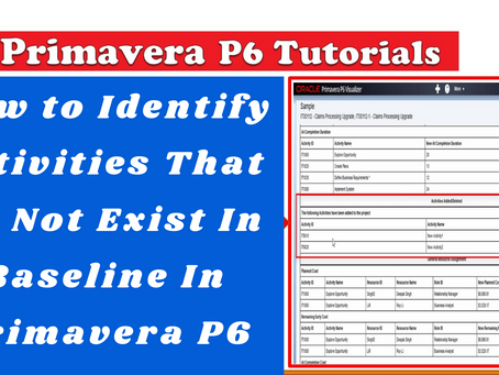 How to Identify Activities That Do Not Exist In Baseline In Primavera P6