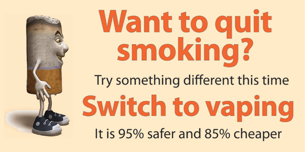 Vaping 95% safer than smoking tobacco products