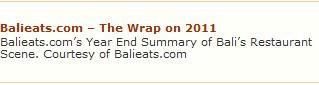 BALI'S BEST RESTAURANTS IN 2011