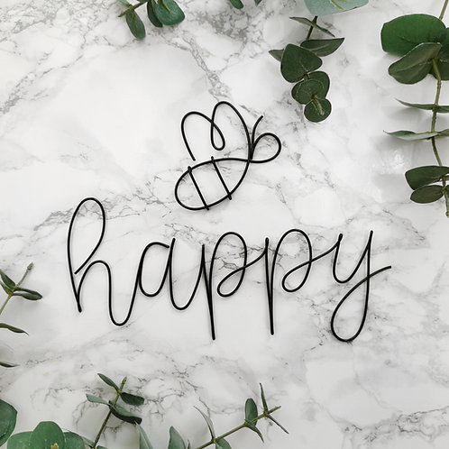 Bee Happy Wire Wall Sign