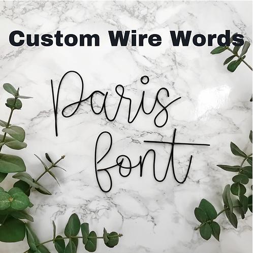 Custom Wire Words: Paris Font Size 1