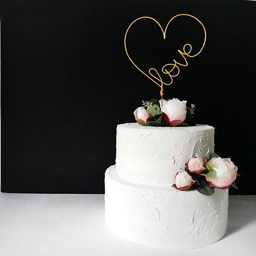 Love Heart Wedding Cake Topper