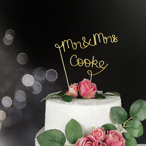 Mr & Mrs Surname Wedding Cake Topper