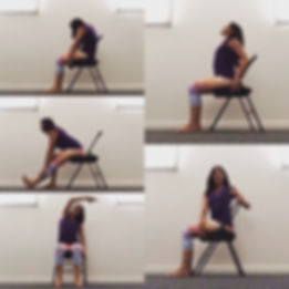Collage of different yoga postures practised seated in a chair