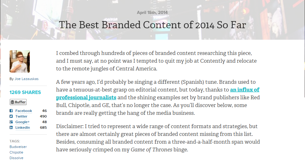The Best Branded Content So Far in 2014