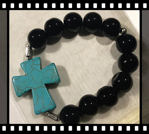 Black Beaded Bracelet with a Turquoise Cross