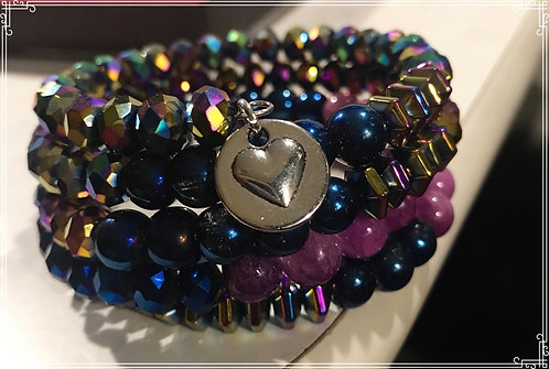 5 layered sparkly beaded wrap bracelet