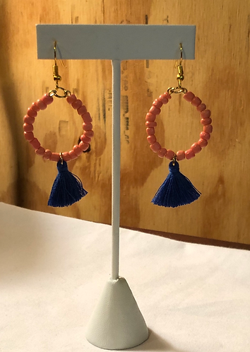 Coral Seed beads and royal blue tassel ( goldstone)