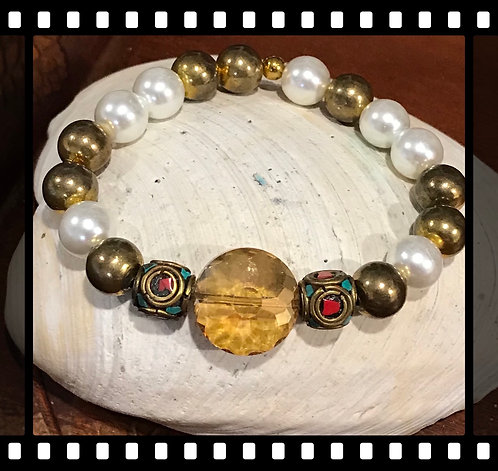 Gold and Pearl Indian bead bracelet
