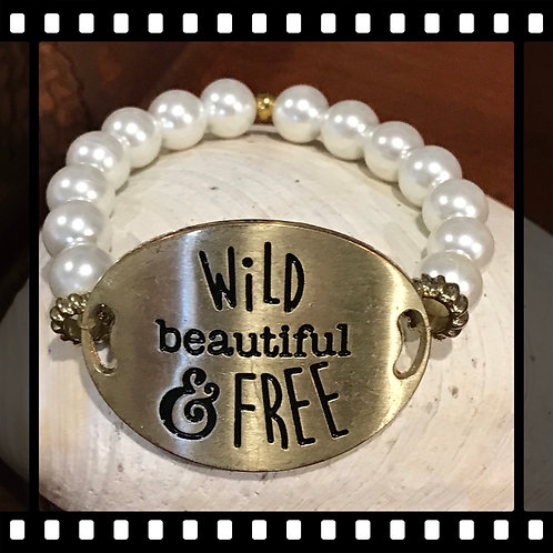 Wild Beautiful and Free Pearl Gold Tone Bracelet