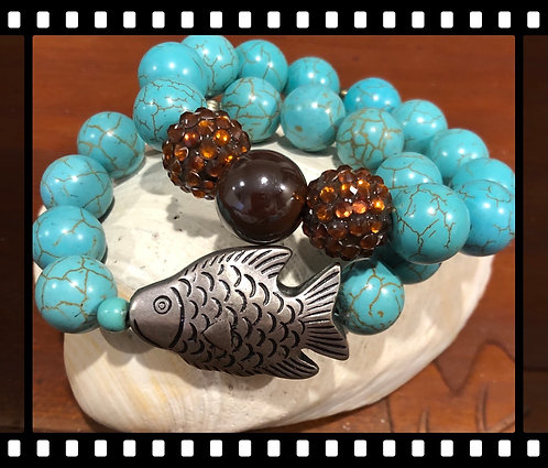 Turquoise  Fish Bling   Two Bracelets
