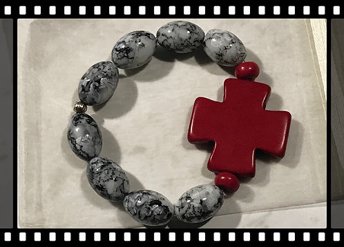Oval Beaded Bracelet with a Hot Red Cross