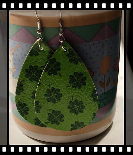St Patrick's Faux Leather Earrings