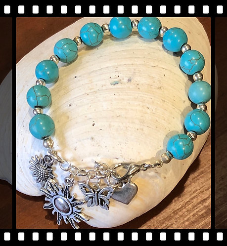 Turquoise Sunshine and Butterfly Bracelet