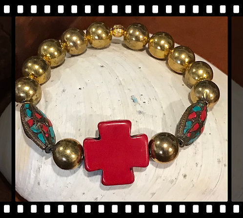 Gold Red Cross Indian bead Bracelet