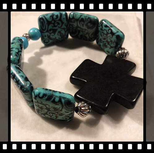 Square Beaded Cross Bracelet