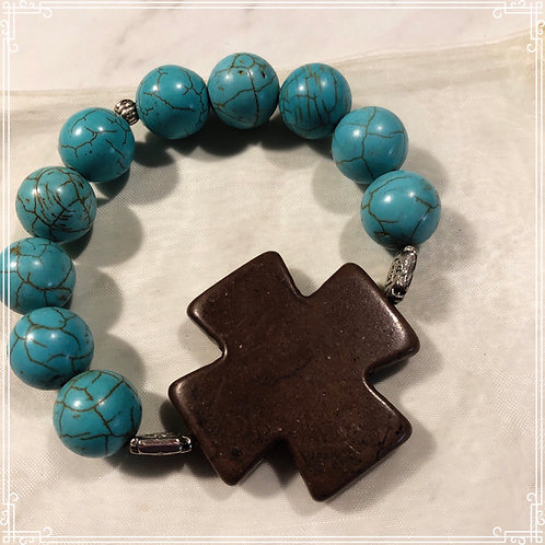 Turquoise Beaded Bracelet with a Brown Cross