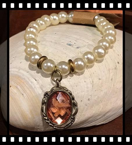 Gold Tone Pearl Bracelet