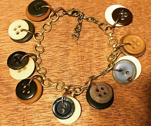 Moxie Style Bracelet with Multiple Vintage Buttons