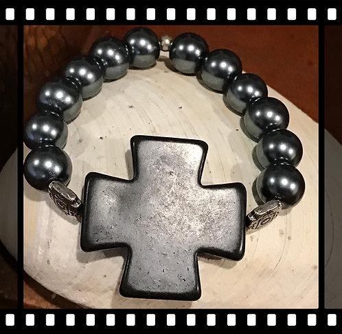 Black Cross with Dark Grey Pearls Bracelet