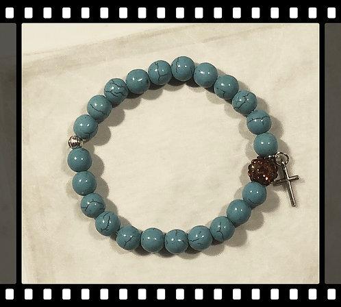 Turquoise Cross Charm Bracelet