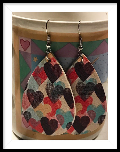 Valentines Colorful Hearts Faux Leather Earrings