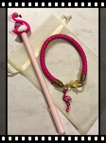 Pink Flamingo leather Bracelet