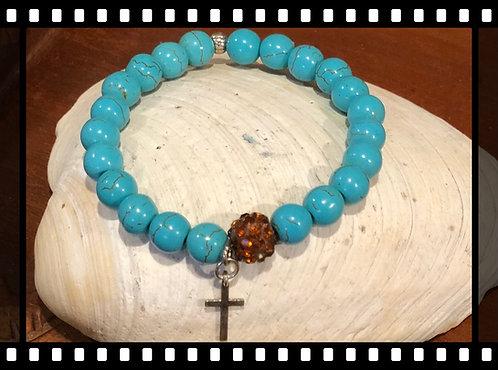 Cross Charm Turquoise Bracelet
