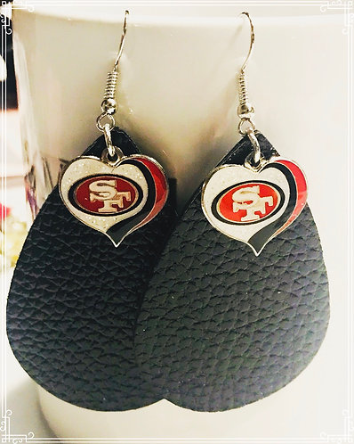49ers Faux Leather Earrings (charm)