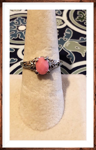 Coral/peach stainless steel ring