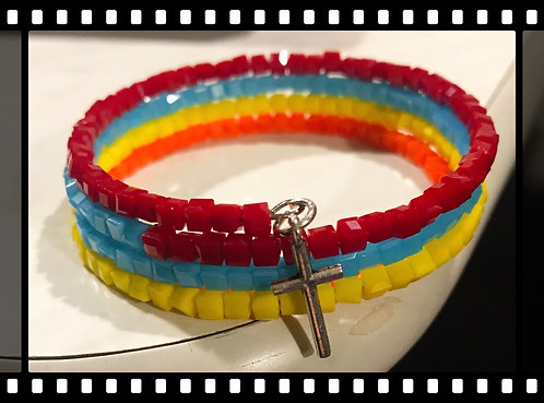 4 layered colorful beaded wrap bracelet