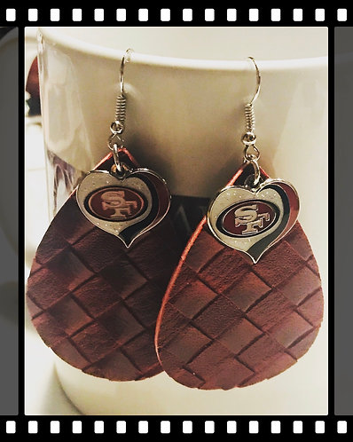 San Francisco 49ers Faux Leather Earrings