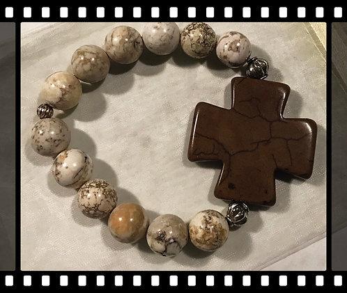 Creamy White Beaded Cross Bracelet