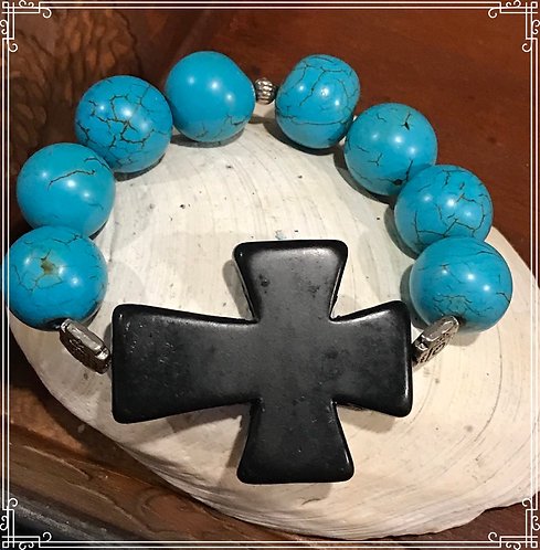 Large Turquoise Beads with a Large Black Cross Bracelet