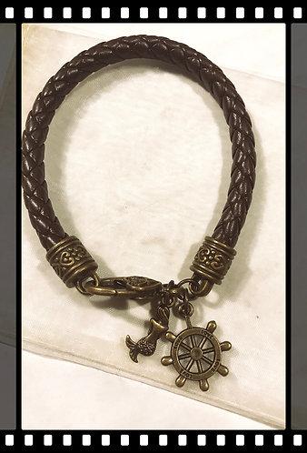 Bronze , Brown leather bracelet, mermaid