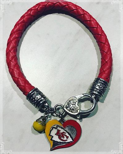 Kansas City Chiefs Leather Charm Bracelet