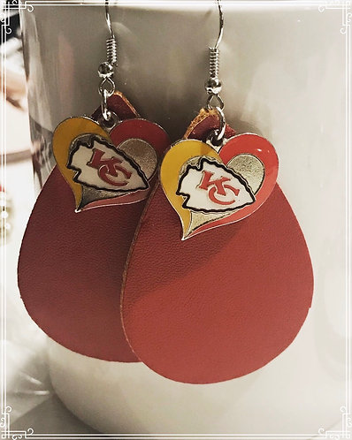 Kansas City Chiefs Faux Leather Earrings