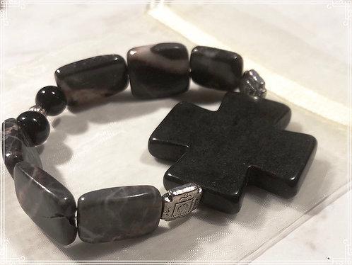 Black Cross square beaded bracelet
