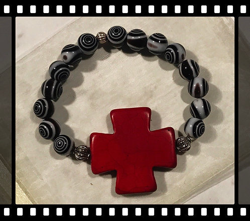 Black and white beaded bracelet with a Hot Red Cross