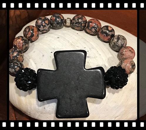 Large Black Cross Beaded Bracelet