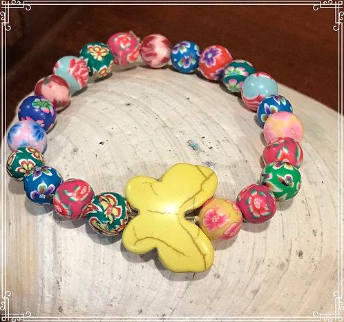 Butterfly and Flower Beaded Bracelet