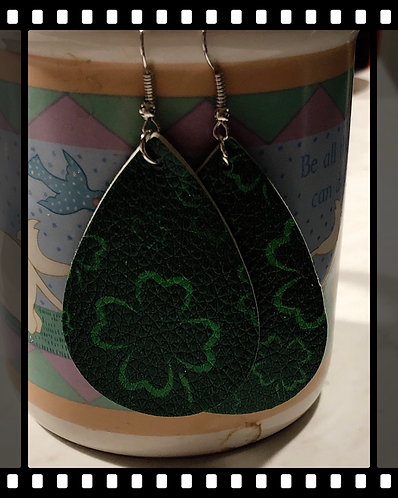 St Patrick's Faux Leather Earrings