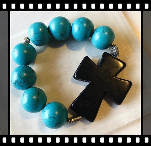 Big Beaded Cross Bracelet